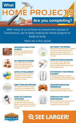 What home projects are you completing during the Coronavirus shutdown? Infographic