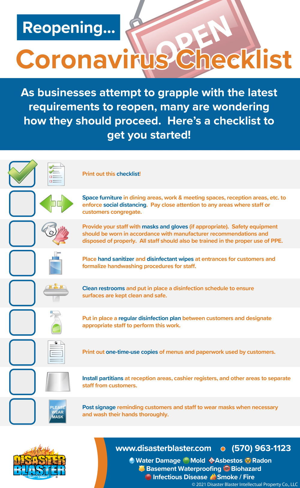 Checklist for reopening your business from Coronavirus Infographic