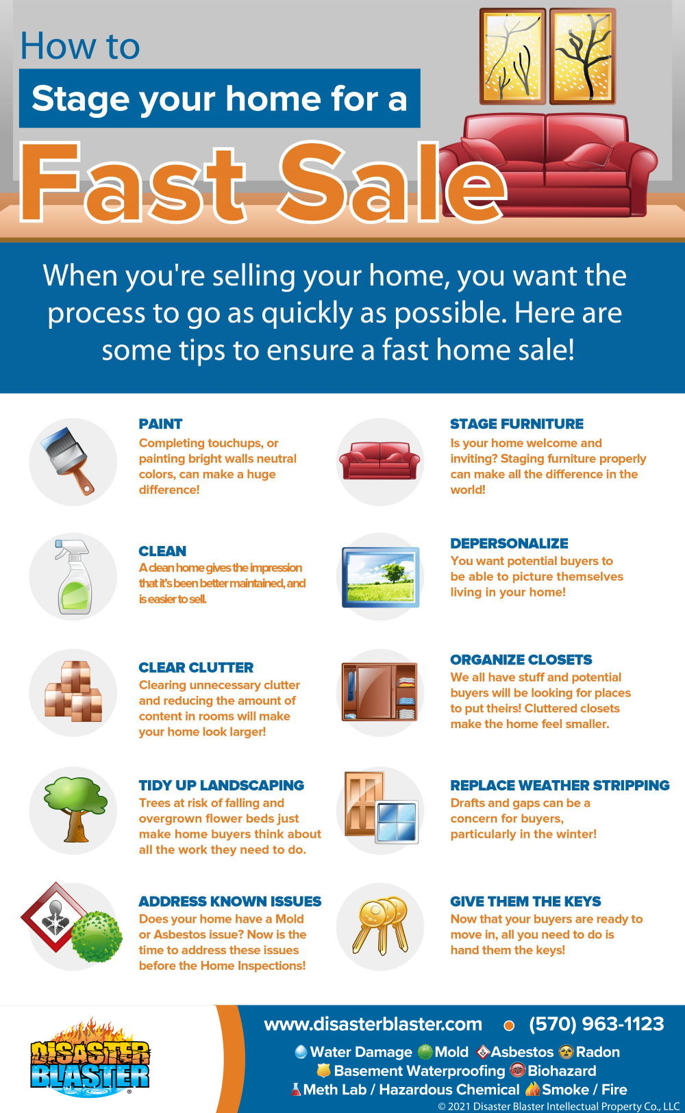 How to stage your home for a fast sale infographic